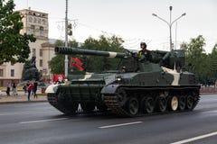 Μινσκ, Λευκορωσία - 1 Ιουλίου 2019: στρατιωτικός εξοπλισμός στο κέντρο πόλεων σε μια πρόβα για την παρέλαση της ημέρας της ανεξαρ στοκ εικόνες