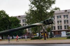 Μινσκ, Λευκορωσία - 1 Ιουλίου 2019: στρατιωτικός εξοπλισμός στο κέντρο πόλεων σε μια πρόβα για την παρέλαση της ημέρας της ανεξαρ στοκ φωτογραφία