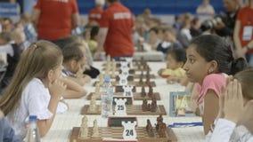 Μινσκ, Λευκορωσία - 22 Ιουνίου 2018 Ð ¡ το διεθνές πρωτάθλημα σκακιού παιχνιδιού απόθεμα βίντεο