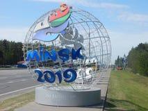 Μινσκ Λευκορωσία - 05 20 2019 Το Μινσκ προσκαλεί στα 2$α ευρωπαϊκά παιχνίδια στοκ εικόνες