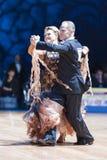 Μινσκ, Λευκορωσία 14 Φεβρουαρίου 2015: Ανώτερο ζεύγος χορού Yaroshe Στοκ εικόνα με δικαίωμα ελεύθερης χρήσης