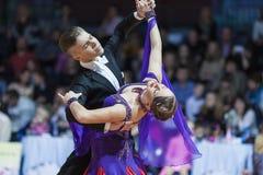 Μινσκ, Λευκορωσία 15 Φεβρουαρίου 2015: Ζεύγος χορού Shmidt Danila Στοκ Φωτογραφία