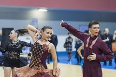 Μινσκ-Λευκορωσία, 22 Φεβρουαρίου: Το μη αναγνωρισμένο ζεύγος χορού εκτελεί Στοκ φωτογραφίες με δικαίωμα ελεύθερης χρήσης