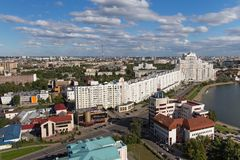ΜΙΝΣΚ, ΛΕΥΚΟΡΩΣΙΑ - 15 ΑΥΓΟΎΣΤΟΥ 2016: Εναέρια άποψη του νότιου μέρους του Μινσκ Στοκ φωτογραφία με δικαίωμα ελεύθερης χρήσης