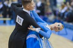 ΜΙΝΣΚ-ΛΕΥΚΟΡΩΣΙΑ, 9 ΦΕΒΡΟΥΑΡΙΟΥ: Το μη αναγνωρισμένο ζεύγος χορού εκτελεί το Υ Στοκ Εικόνες