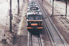 Μινσκ belatedness 19 Μαρτίου 2019 Φορτηγό τρένο επάνω από την όψη στοκ φωτογραφία