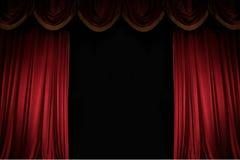 Μισάνοιχτη κόκκινη κουρτίνα Στοκ φωτογραφία με δικαίωμα ελεύθερης χρήσης