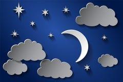 Μισά φεγγάρι και αστέρια στα μεσάνυχτα ύφος τέχνης εγγράφου ελεύθερη απεικόνιση δικαιώματος