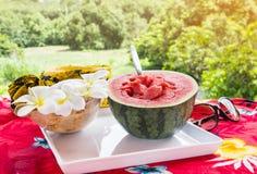 Μισά φρέσκα και κόκκινα φρούτα και κουτάλι καρπουζιών στον άσπρο δίσκο στο τ Στοκ Εικόνα