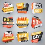 Μισές ετικέττες πώλησης τιμών Ειδική έκπτωση προσφοράς Σαββατοκύριακου, 50 από τα εμβλήματα πώλησης και διανυσματική συλλογή δελτ διανυσματική απεικόνιση