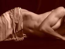 μισή βάζοντας nude δευτερεύουσα γυναίκα σκιών Στοκ Εικόνες