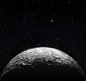 Μισή επιφάνεια φεγγαριών και έναστρο διάστημα Στοκ Εικόνες