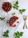 Μισή πίτα από το τυρί εξοχικών σπιτιών και τις φρέσκες φράουλες στοκ εικόνες με δικαίωμα ελεύθερης χρήσης