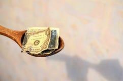 μισθός Αμερικανικοί λογαριασμοί, δολάρια σε ένα ξύλινο κουτάλι στοκ φωτογραφίες