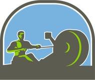 Μισός κύκλος μηχανών κωπηλασίας Rower αναδρομικός απεικόνιση αποθεμάτων