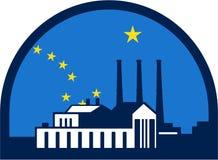 Μισός κύκλος σημαιών της Αλάσκας εγκαταστάσεων παραγωγής ενέργειας αναδρομικός απεικόνιση αποθεμάτων