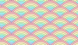 Μισό άνευ ραφής σχέδιο κρητιδογραφιών ουράνιων τόξων κύκλων τολμηρό Στοκ εικόνες με δικαίωμα ελεύθερης χρήσης