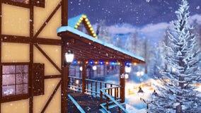 Μισό-εφοδιασμένο με ξύλα αλπικό σπίτι στη χιονώδη χειμερινή νύχτα 4K ελεύθερη απεικόνιση δικαιώματος