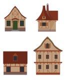 Μισό-εφοδιασμένα με ξύλα σπίτια καθορισμένα Απεικόνιση αποθεμάτων