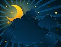 Μισό φεγγάρι τέχνης εγγράφου, ακτίνες, χνουδωτά σύννεφα και αστέρια διανυσματική απεικόνιση