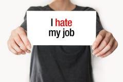 Μισώ την εργασία μου στοκ εικόνα με δικαίωμα ελεύθερης χρήσης