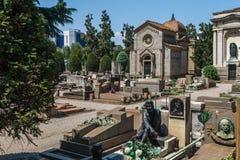 Μιλάνο, Ιταλία Διάσημο ορόσημο - το μνημειακό νεκροταφείο Cimitero Monumentale Στοκ Φωτογραφία