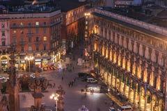 Μιλάνο, Ιταλία: εναέρια άποψη του τετραγώνου καθεδρικών ναών, Piazza del Duomo Στοκ εικόνα με δικαίωμα ελεύθερης χρήσης