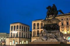 Μιλάνο, Ιταλία: Μνημείο στο βασιλιά Victor Emmanuel ΙΙ, τετράγωνο καθεδρικών ναών Στοκ Εικόνα