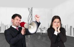 Μιλώντας προϊστάμενος με το megaphon Στοκ εικόνα με δικαίωμα ελεύθερης χρήσης