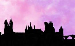Μνήμη ηλιοβασιλέματος της Πράγας Στοκ εικόνα με δικαίωμα ελεύθερης χρήσης