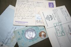 Μνήμη του δεύτερου παγκόσμιου πολέμου 1941-1945 Από το διασκορπισμένο αρχείο καπετάνιου Kovalev στοκ εικόνες με δικαίωμα ελεύθερης χρήσης