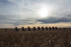 Μνημείο αγροκτημάτων Cadillac στο Αμαρίγιο, TX στοκ εικόνες με δικαίωμα ελεύθερης χρήσης