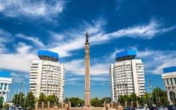 Μνημείο ανεξαρτησίας στο τετράγωνο Δημοκρατίας του Αλμάτι - του Καζακστάν στοκ φωτογραφία με δικαίωμα ελεύθερης χρήσης