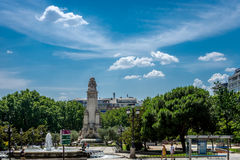 Μνημείο Θερβάντες Plaza de España Μαδρίτη, Ισπανία, Ευρώπη Στοκ Εικόνα