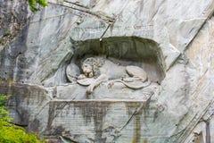 Μνημείο λιονταριών Luzern στην Ελβετία Στοκ Φωτογραφία