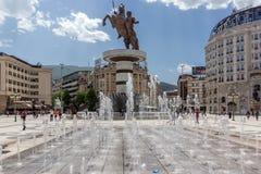 Μνημείο κέντρου πόλεων των Σκόπια και του Μεγαλέξανδρου, Μακεδονία Στοκ Εικόνες