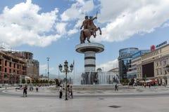 Μνημείο κέντρου πόλεων των Σκόπια και του Μεγαλέξανδρου, Μακεδονία Στοκ φωτογραφία με δικαίωμα ελεύθερης χρήσης