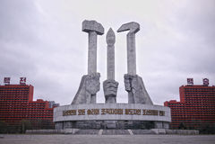 Μνημείο κόμματος εργαζομένων ` s Βόρεια Κορεών στοκ φωτογραφία