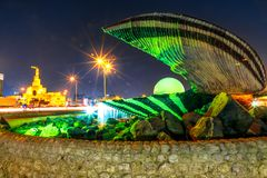 Μνημείο μαργαριταριών και μουσουλμανικό τέμενος Doha στοκ εικόνες