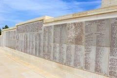 Μνημείο με τα ονόματα σε Anzac Τουρκία Στοκ Εικόνα