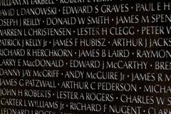 Μνημείο παλαιμάχων του Βιετνάμ στο Washington DC, λεπτομέρεια κινηματογραφήσεων σε πρώτο πλάνο, desi Στοκ Εικόνα