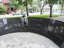 Μνημείο πυρκαγιάς ξενοδοχείων Vendome, λεωφόρος λεωφόρων Κοινοπολιτείας, Βοστώνη, Μασαχουσέτη, ΗΠΑ στοκ εικόνα με δικαίωμα ελεύθερης χρήσης