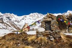 Μνημείο σε Annapurna Basecamp Στοκ Φωτογραφία