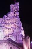 Μνημείο σημαιών που φωτίζεται στο Μέριντα Yucatan Μεξικό Στοκ Εικόνες