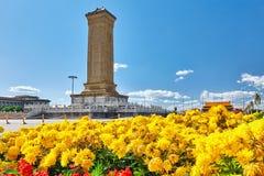 Μνημείο στους ήρωες των ανθρώπων στην πλατεία Tian'anmen - το τρίτο Στοκ Εικόνα