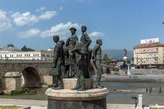 Μνημείο στο κέντρο της πόλης των Σκόπια, Δημοκρατία της Μακεδονίας Στοκ Εικόνες