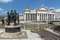 Μνημείο στο κέντρο της πόλης των Σκόπια, Δημοκρατία της Μακεδονίας Στοκ Φωτογραφίες