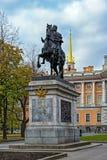 Μνημείο στο Μέγας Πέτρο σε Άγιο Πετρούπολη Στοκ Φωτογραφίες