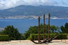 Μνημείο στο όμορφο πάρκο του Vigo Castro, Ισπανία Στοκ φωτογραφία με δικαίωμα ελεύθερης χρήσης
