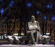 Μνημείο στο Anton Hansen Tammsaare το χειμώνα Στοκ Φωτογραφίες